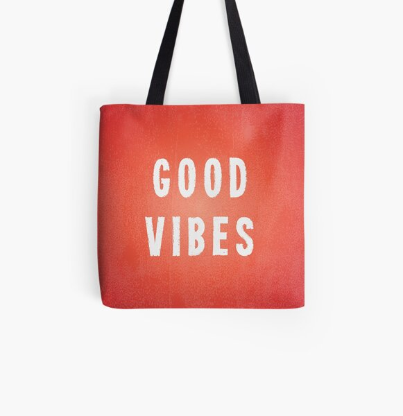 Sunset Orange/Red and White Printed Ink Good Vibes All Over Print Tote Bag