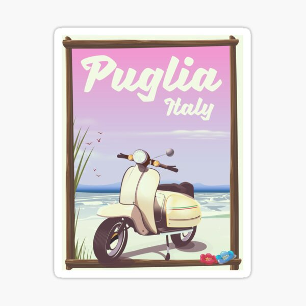 Puglia Italy Scooter Travel poster Sticker