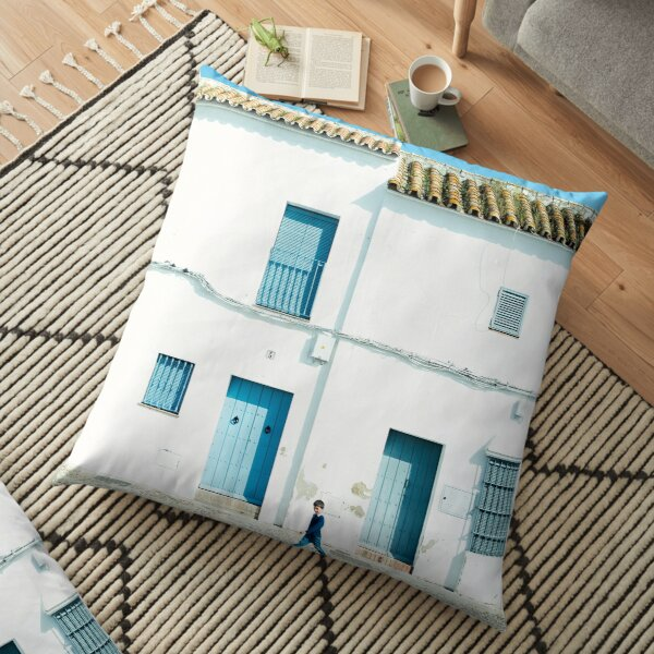 White and blue town Floor Pillow
