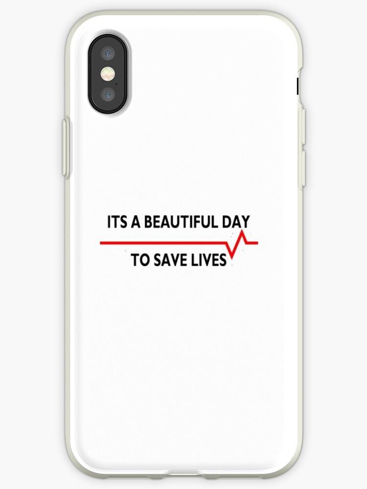 Vinilos y fundas para iPhone «Hermoso día para salvar vidas, grises ...