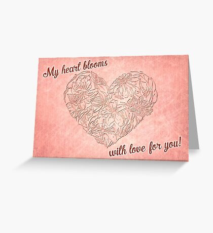 Hearts & flowers blooming love Greeting Card