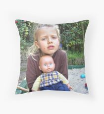 """""""Me and My Doll"""" #4 Throw Pillow"""