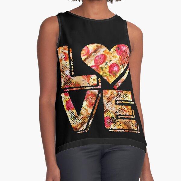 I Love Heart Pizza Yummy Pepperoni Cheese Bread Sleeveless Top