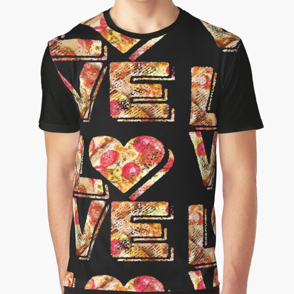 I Love Heart Pizza Yummy Pepperoni Cheese Bread Graphic T-Shirt
