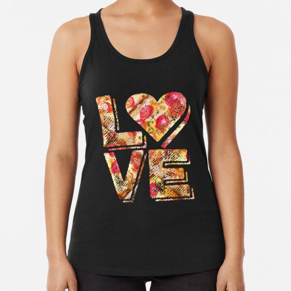 I Love Heart Pizza Yummy Pepperoni Cheese Bread Racerback Tank Top