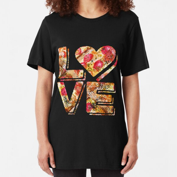 I Love Heart Pizza Yummy Pepperoni Cheese Bread Slim Fit T-Shirt