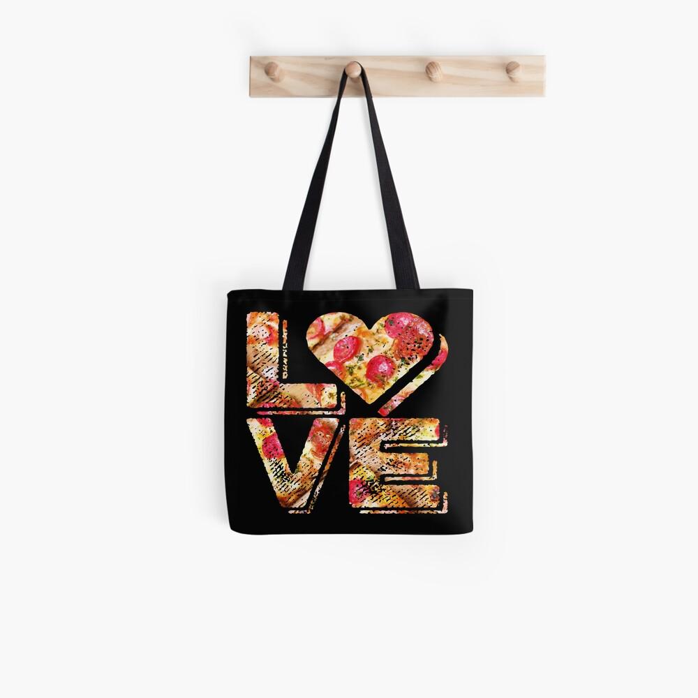 I Love Heart Pizza Yummy Pepperoni Cheese Bread Tote Bag