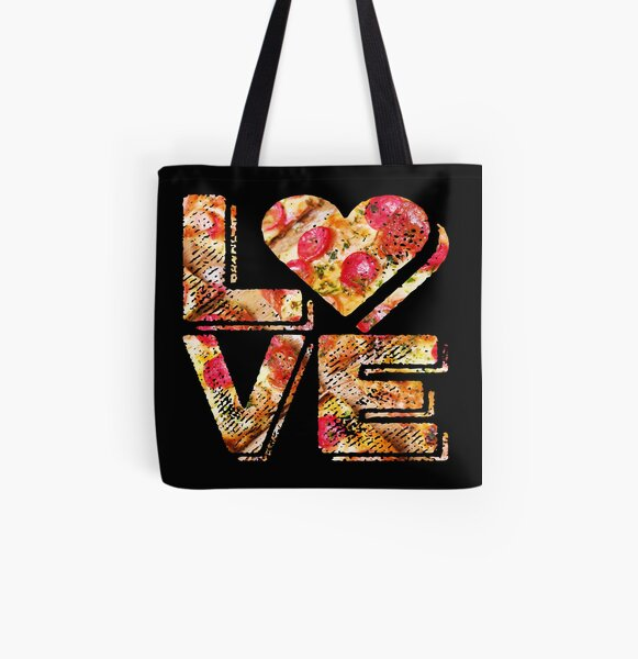 I Love Heart Pizza Yummy Pepperoni Cheese Bread All Over Print Tote Bag