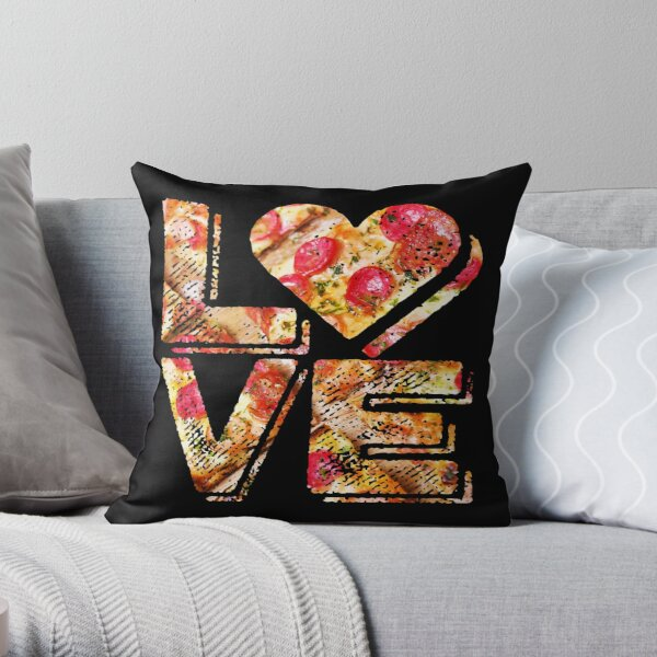 I Love Heart Pizza Yummy Pepperoni Cheese Bread Throw Pillow