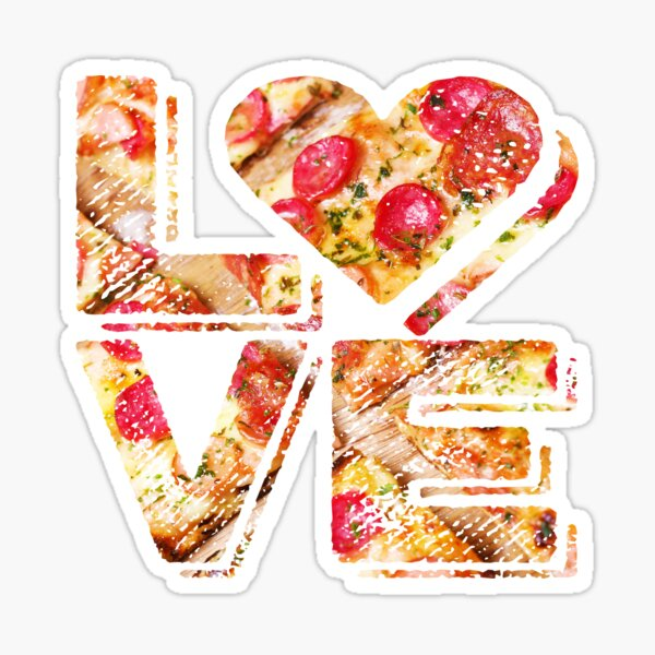 I Love Heart Pizza Yummy Pepperoni Cheese Bread Sticker