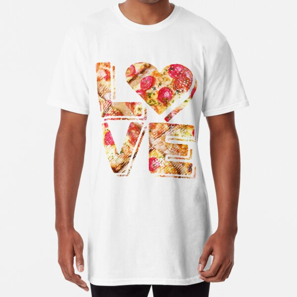 I Love Heart Pizza Yummy Pepperoni Cheese Bread Long T-Shirt