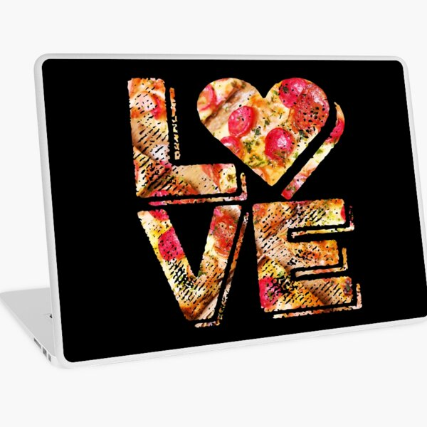 I Love Heart Pizza Yummy Pepperoni Cheese Bread Laptop Skin