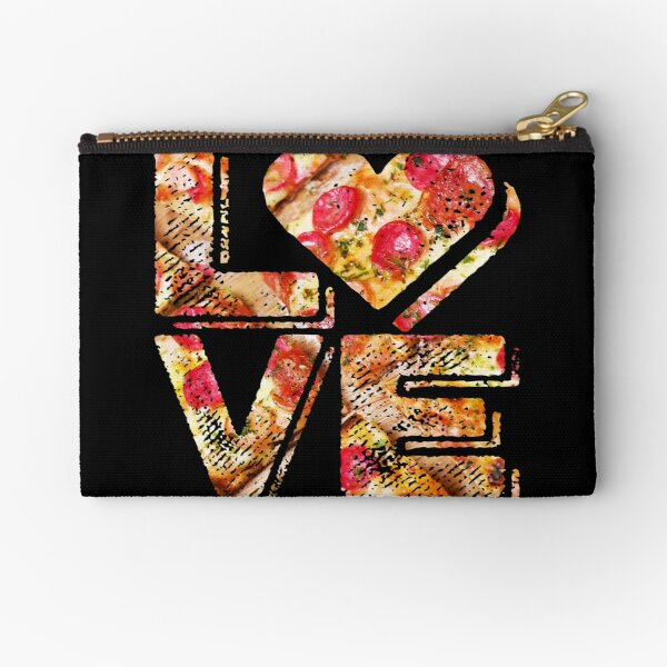 I Love Heart Pizza Yummy Pepperoni Cheese Bread Zipper Pouch