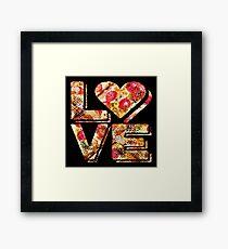 I Love Heart Pizza Yummy Pepperoni Cheese Bread Framed Print