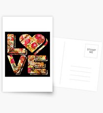 I Love Heart Pizza Yummy Pepperoni Cheese Bread Postcards