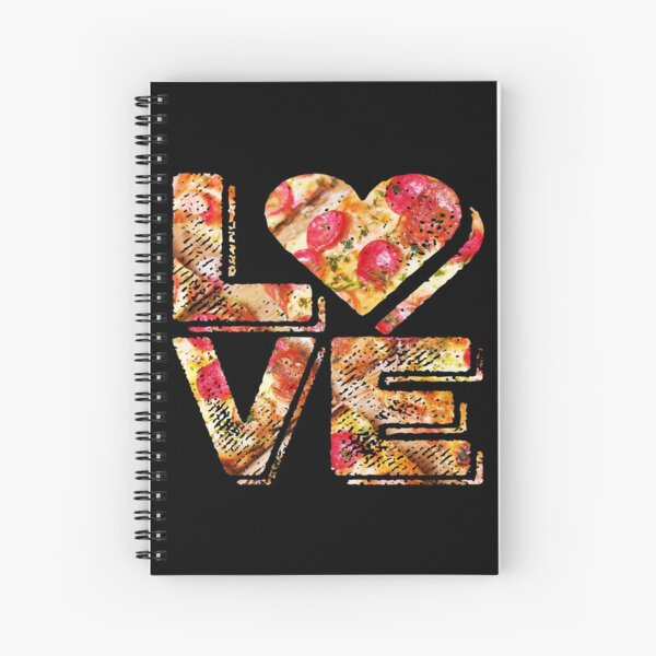 I Love Heart Pizza Yummy Pepperoni Cheese Bread Spiral Notebook