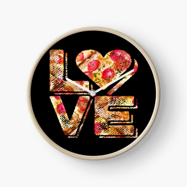 I Love Heart Pizza Yummy Pepperoni Cheese Bread Clock