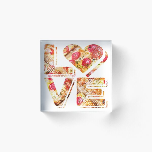 I Love Heart Pizza Yummy Pepperoni Cheese Bread Acrylic Block