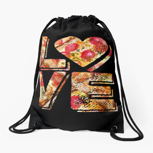 I Love Heart Pizza Yummy Pepperoni Cheese Bread Drawstring Bag