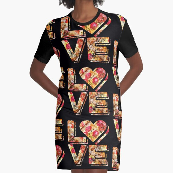 I Love Heart Pizza Yummy Pepperoni Cheese Bread Graphic T-Shirt Dress