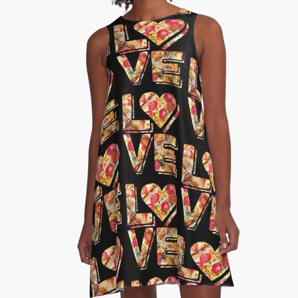 I Love Heart Pizza Yummy Pepperoni Cheese Bread A-Line Dress