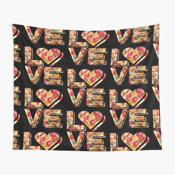 I Love Heart Pizza Yummy Pepperoni Cheese Bread Tapestry