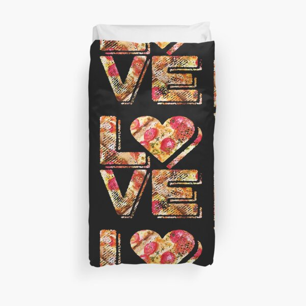 I Love Heart Pizza Yummy Pepperoni Cheese Bread Duvet Cover