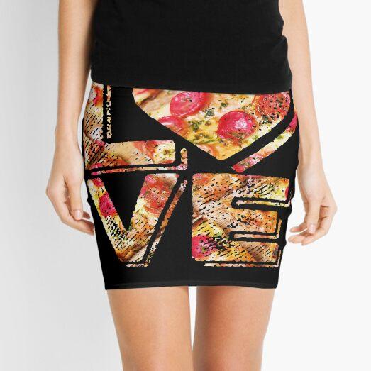 I Love Heart Pizza Yummy Pepperoni Cheese Bread Mini Skirt
