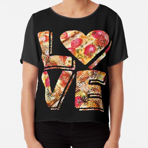 I Love Heart Pizza Yummy Pepperoni Cheese Bread Chiffon Top