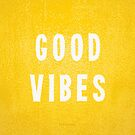 Sunny Yellow and White Distressed Effect Good Vibes by itsjensworld