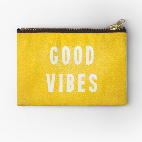 Sunny Yellow and White Distressed Effect Good Vibes Zipper Pouch