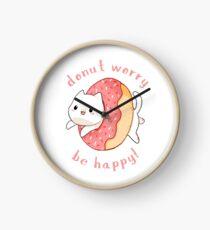 Donut worry cat - Be happy! Clock