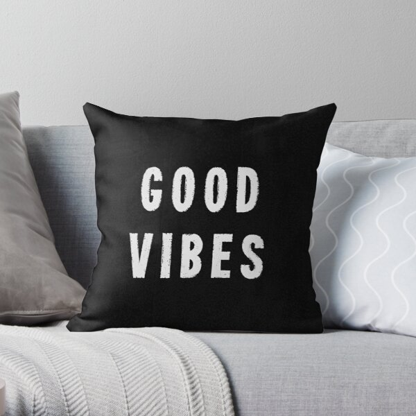 Grungy Distressed Ink Print Good Vibes | White on Black Throw Pillow