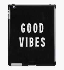 Grungy Distressed Ink Print Good Vibes | White on Black iPad Case/Skin