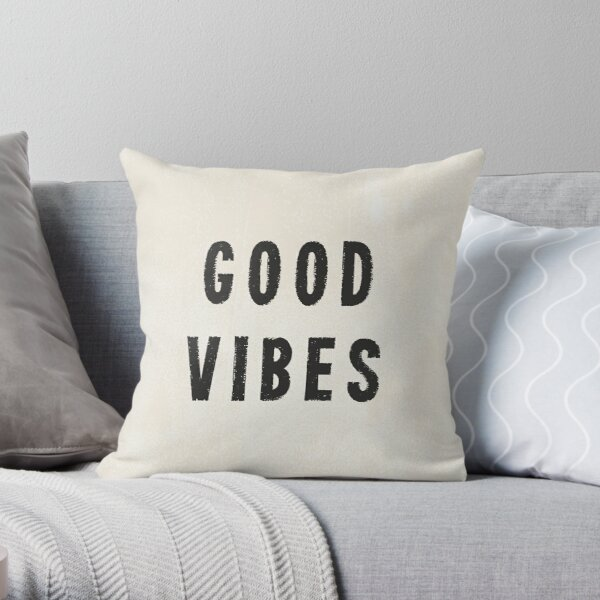 Grungy Distressed Ink Good Vibes | Black on Off-White Throw Pillow