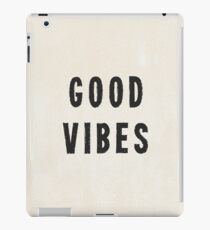 Grungy Distressed Ink Good Vibes | Black on Off-White iPad Case/Skin