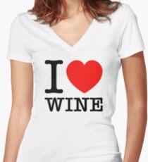 Camiseta entallada de cuello en V Amo el vino