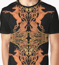 Image of two fantasy horses in floral frame. Graphic T-Shirt