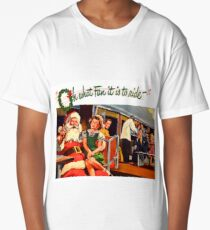 Santa Claus and little girl sing happily on the train, vintage holiday ad Long T-Shirt