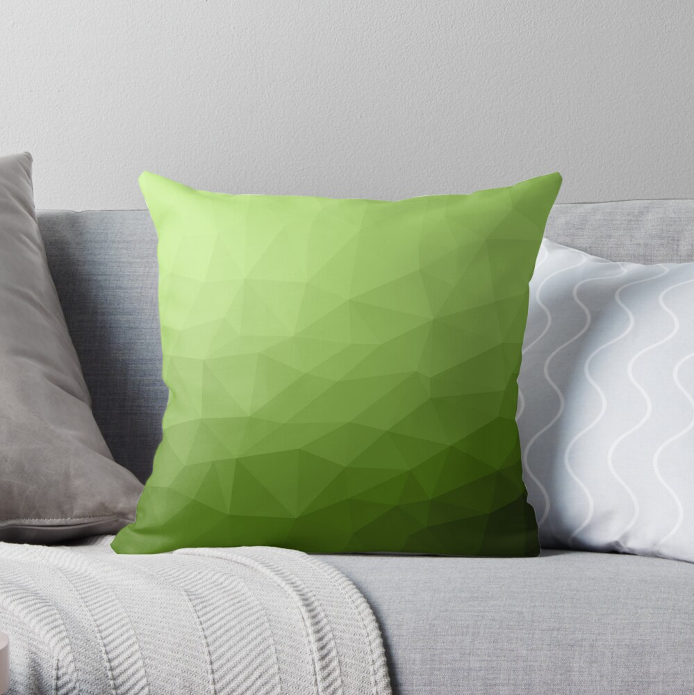 Greenery ombre gradient geometric mesh pattern Throw Pillow