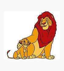 Simba and Mufasa Lion King Photographic Print