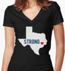Hurricane Harvey Make Houston Texas Strong Shirt Women's Fitted V-Neck T-Shirt