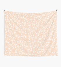 Pretty Peach/Apricot and White Stars Wall Tapestry