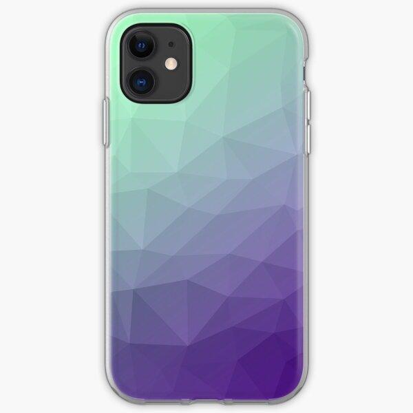 Patrón de malla geométrica degradado ombre verde púrpura Funda blanda para iPhone