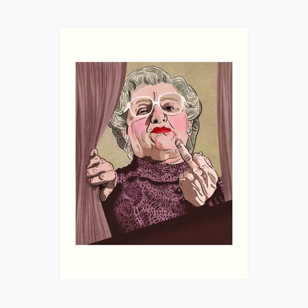 Mrs Doubtfire middle finger - Illustration - Robin Williams - Film  Art Print