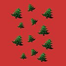Sparkly Christmas tree green sparkles pattern by PLdesign