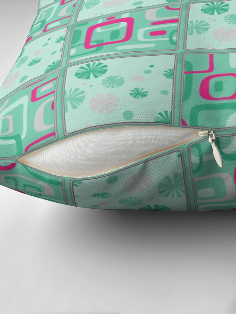 Alternate view of HIGH SELLING RETRO 1950S INSPIRED CHECKS IN PINK AND AQUA  Throw Pillow
