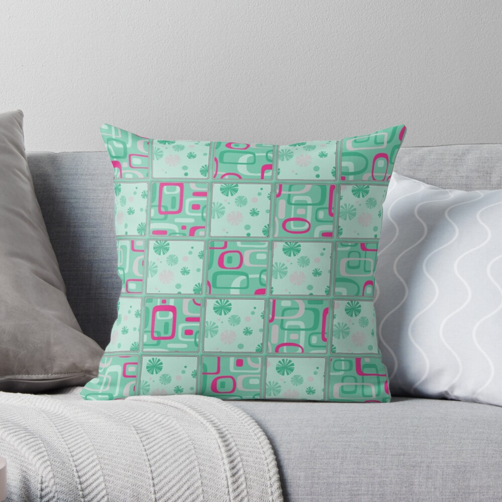 HIGH SELLING RETRO 1950S INSPIRED CHECKS IN PINK AND AQUA  Throw Pillow
