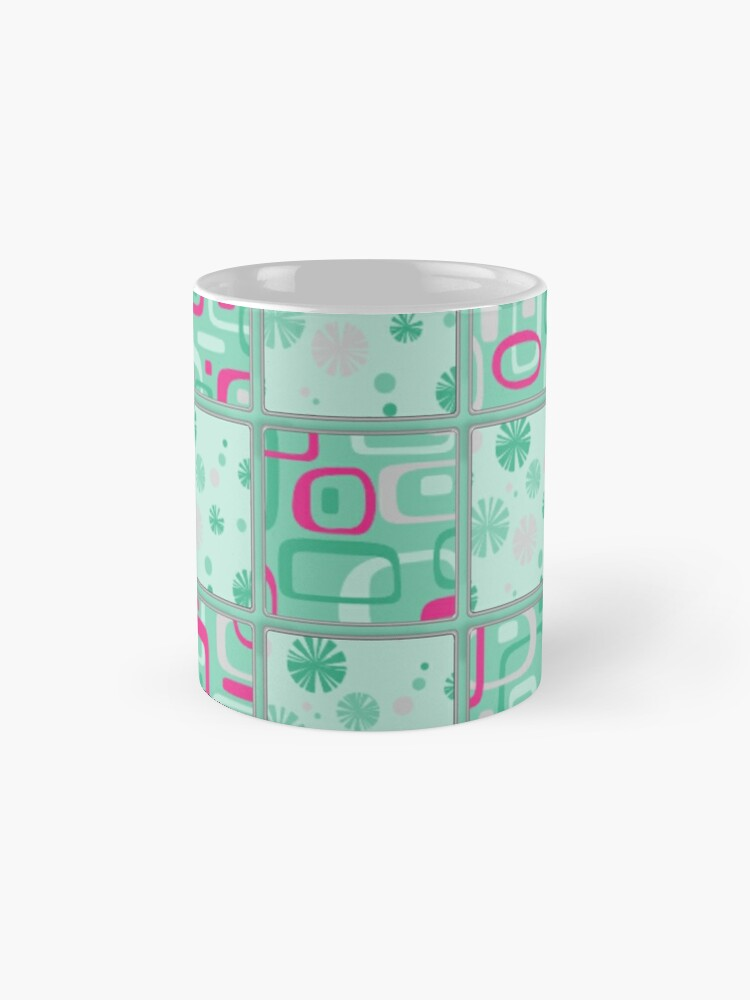 Alternate view of HIGH SELLING RETRO 1950S INSPIRED CHECKS IN PINK AND AQUA  Mugs