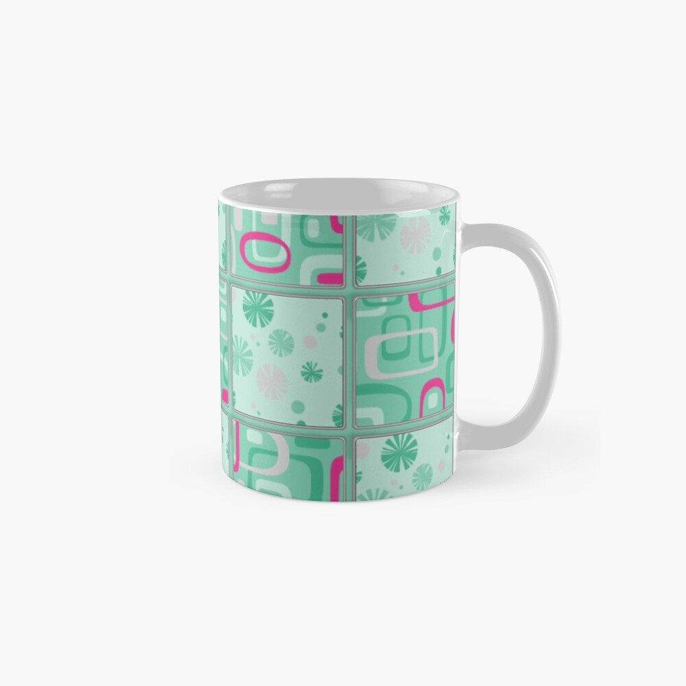 HIGH SELLING RETRO 1950S INSPIRED CHECKS IN PINK AND AQUA  Mugs